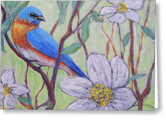Blue Bird And Blossoms Greeting Card