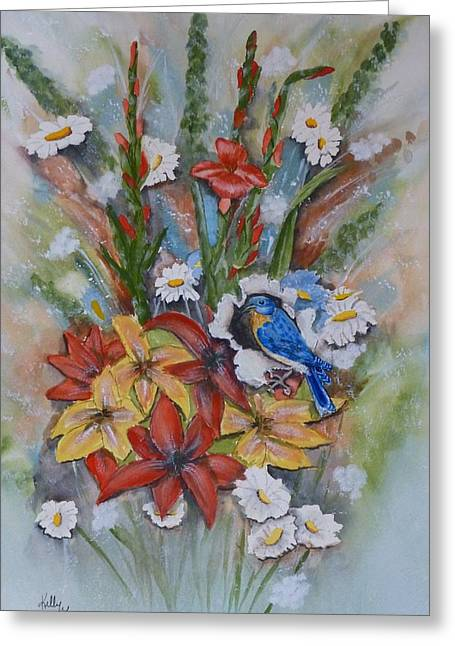 Blue Bird Eats Thru The Painting Greeting Card by Kelly Mills