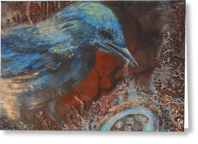 Blue Bird Family Ties Greeting Card by Christine Wenderoth