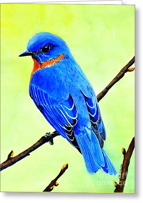 Blue Bird King Greeting Card