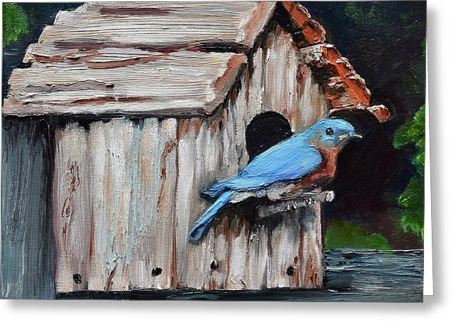 Greeting Card featuring the painting Blue Bird On Lake Odom by Jan Dappen