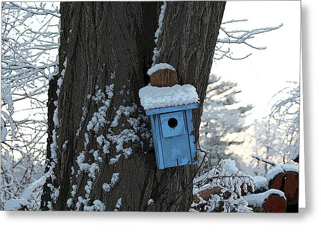 Blue Birdhouse Greeting Card