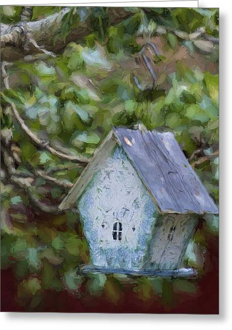 Blue Birdhouse Painterly Effect Greeting Card by Carol Leigh