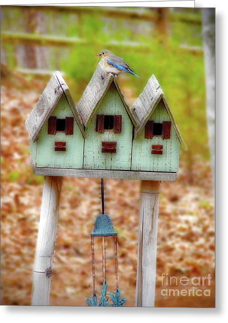 Bamboo House Greeting Cards - Blue Birds Castle Greeting Card by Laura Brightwood