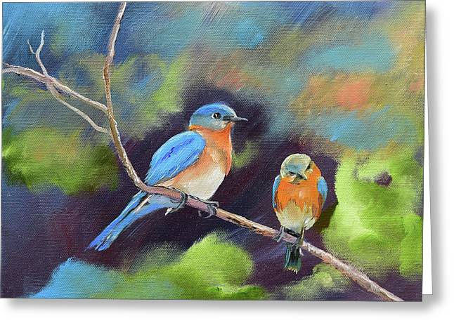 Greeting Card featuring the painting Blue Birds - Soul Mates by Jan Dappen