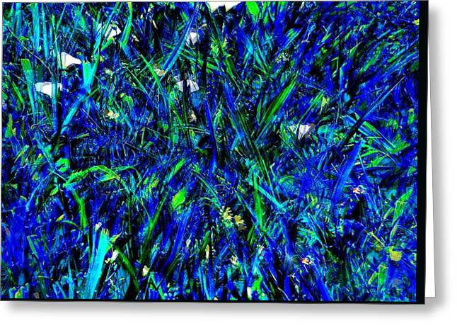 Blue Blades Of Grass Greeting Card