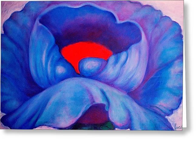 Blue Bloom Greeting Card by Jordana Sands