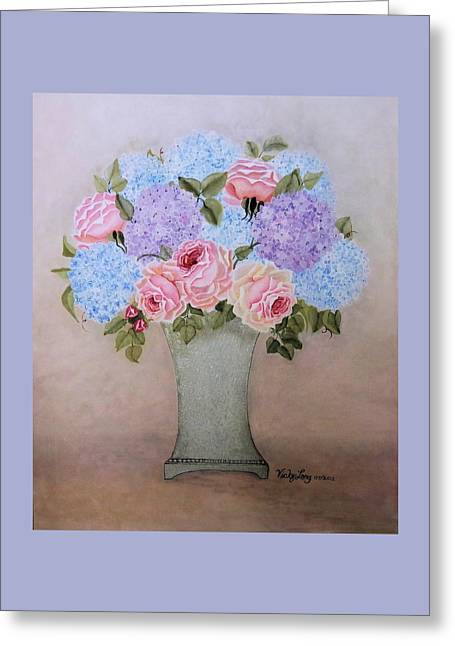 Blue Bouquet For Catherine Greeting Card by Victoria Long
