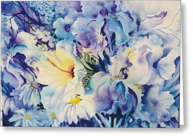 Blue-blossoms Greeting Card by Nancy Newman