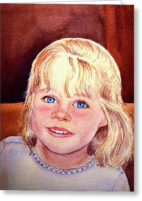 Family Portrait Greeting Cards - Blue Blue Eyes Greeting Card by Irina Sztukowski