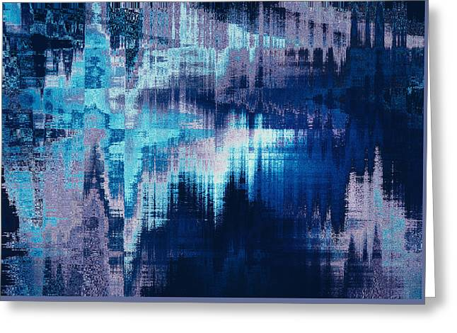 blue blurred abstract background texture with horizontal stripes. glitches, distortion on the screen broadcast digital TV satellite channels Greeting Card by Oksana Ariskina