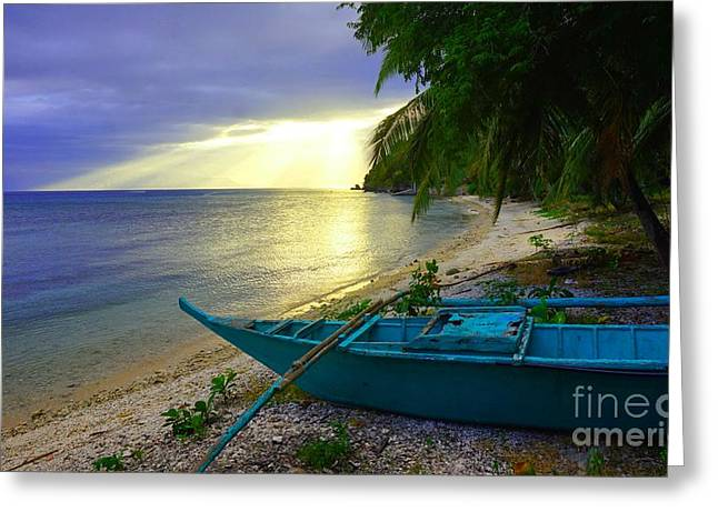 Blue Boat And Sunset On Beach Greeting Card