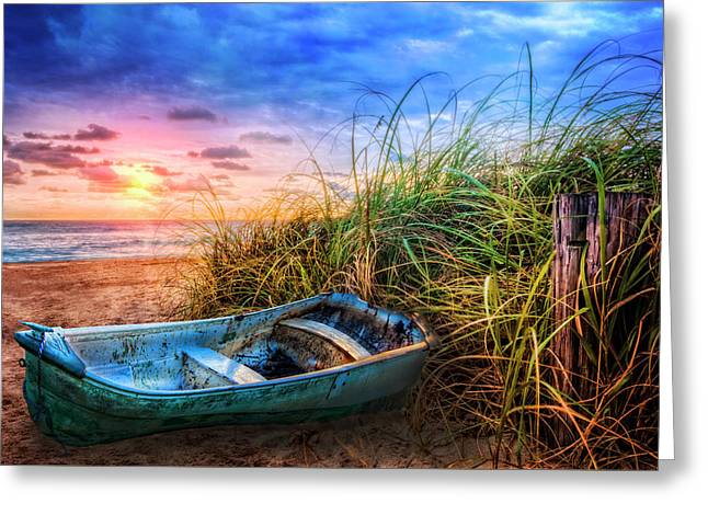 Blue Boat At The Seashore Greeting Card