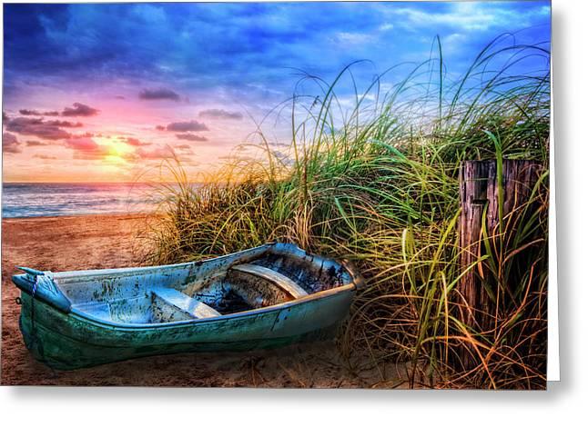 Blue Boat At The Seashore Greeting Card
