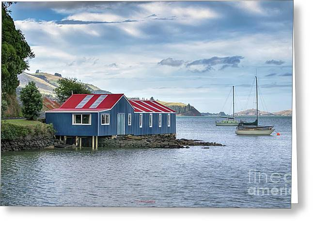 Blue Boat Shed Greeting Card by Jan Pudney