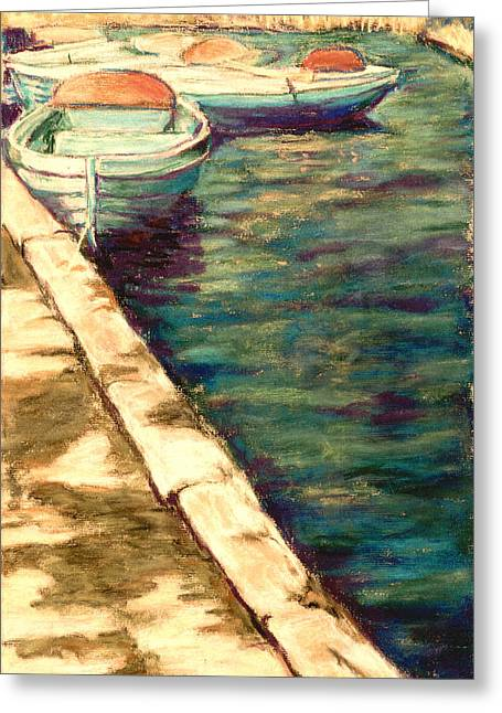 Blue Boats At Llangorse Wales Greeting Card by Judy Adamson