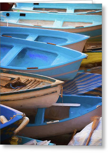 Blue Boats Of Cinque Terre Italy Greeting Card by Joan Carroll