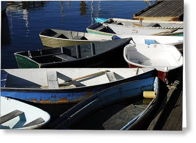 Greeting Card featuring the photograph Blue Boats Of Rockport by AnnaJanessa PhotoArt