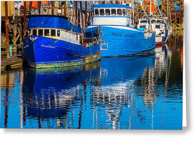 Blue Boats Reflection Greeting Card by Garry Gay