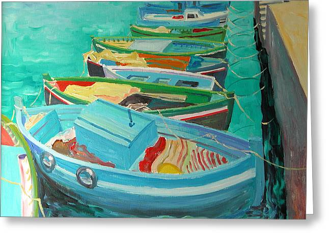 Blue Boats Greeting Card by William Ireland