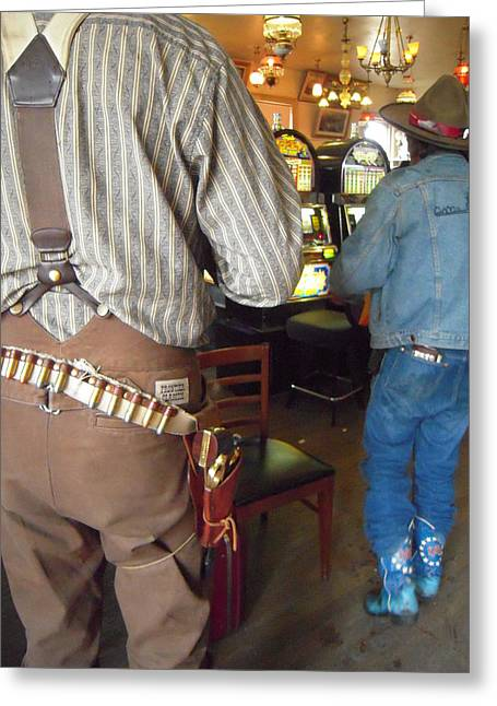 Blue Boots In A Nevada Bar Greeting Card