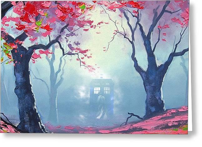 Blue Box Cloud Sakura Painting  Greeting Card