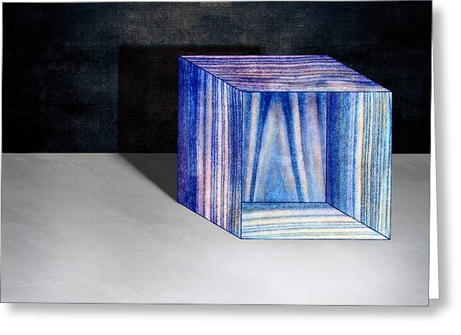 Blue Box Sitting Greeting Card