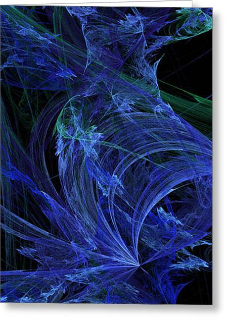 Blue Green Wave Greeting Cards - Blue Breeze Greeting Card by Andee Design
