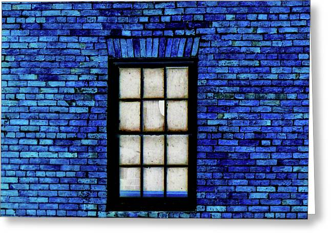 Greeting Card featuring the digital art Blue Brick by Robert Geary