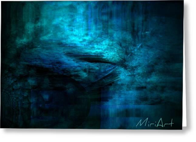 Blue Bridge Abstract Greeting Card by Miriam Shaw