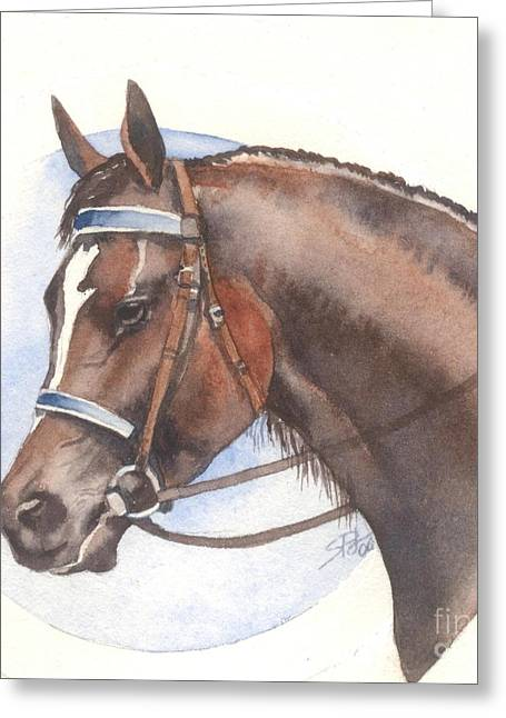 Greeting Card featuring the painting Blue Bridle by Sandra Phryce-Jones