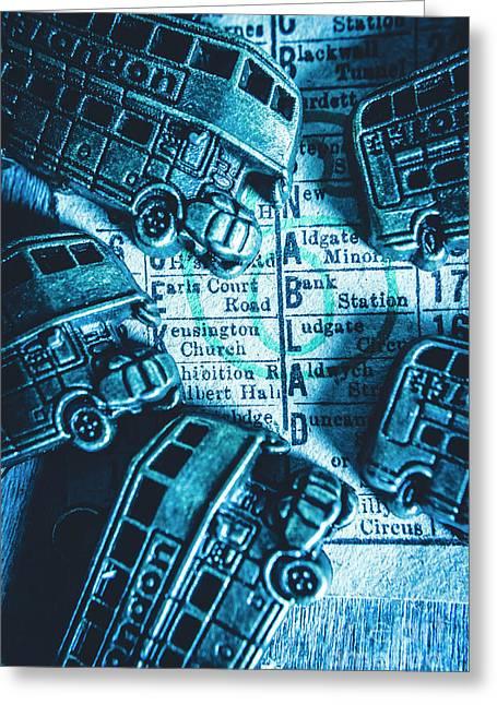 Blue Britain Bus Bill Greeting Card