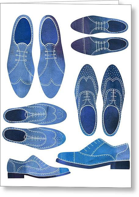 Blue Brogue Shoes Greeting Card by Nic Squirrell