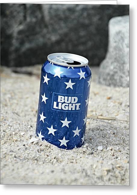 Blue Bud Light Greeting Card