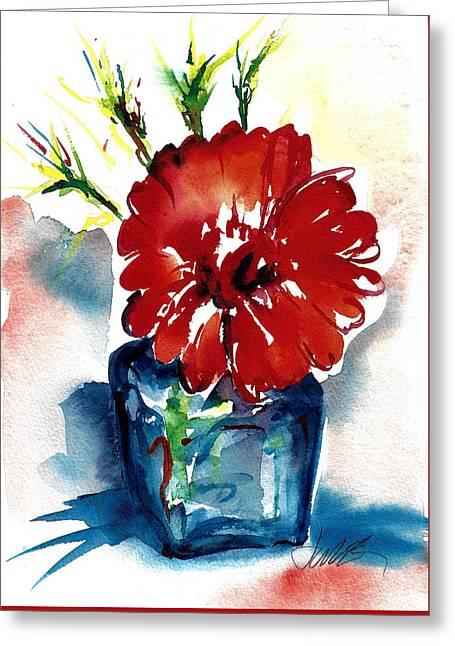 Blue Bud Vase Greeting Card