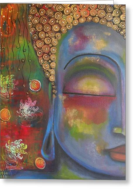 Buddha In Blue Meditating  Greeting Card by Prerna Poojara