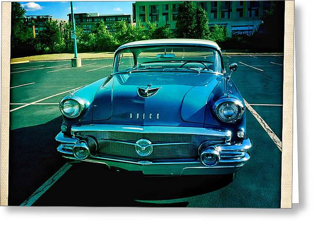 Blue Buick Greeting Card by Terry Rowe