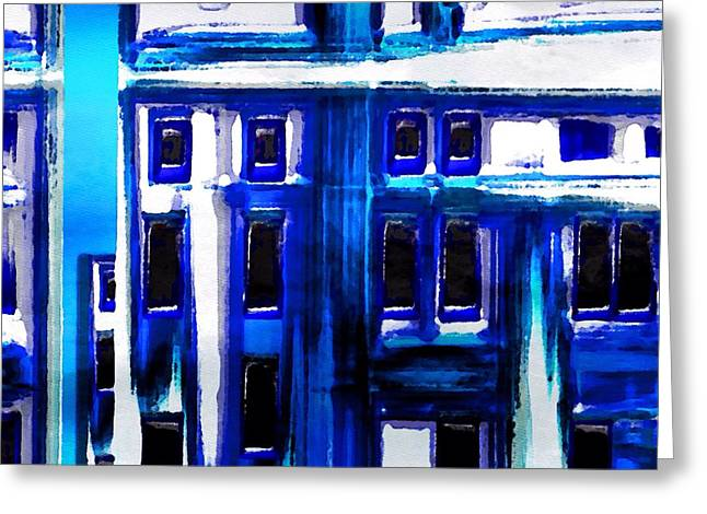 Blue Buildings Greeting Card