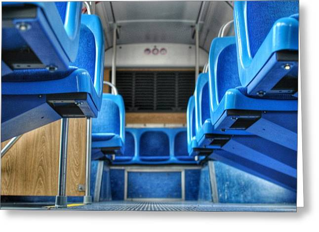 Blue Bus Seats Greeting Card