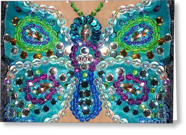 Blue Butterfly. Beads And Jewels 2 Greeting Card