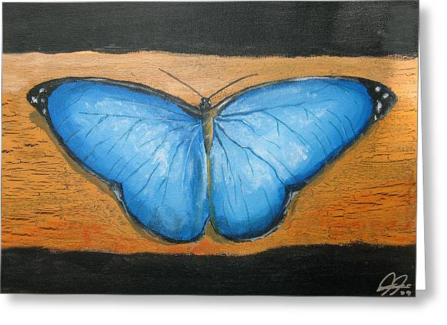 Blue Butterfly Greeting Card by Christian  Hidalgo