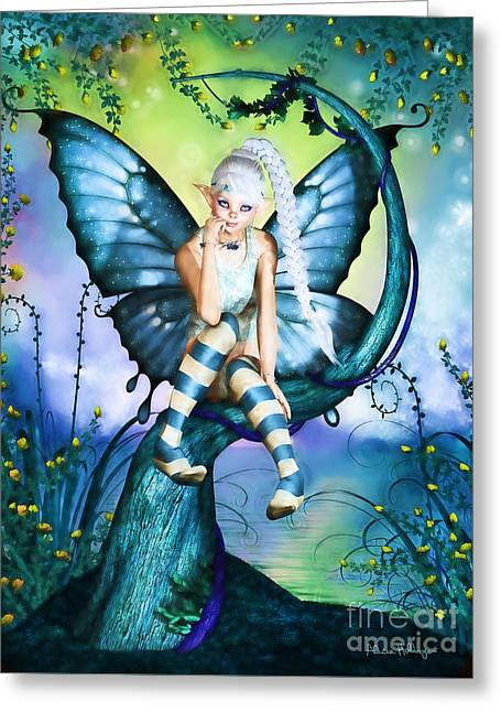Blue Butterfly Fairy In A Tree Greeting Card