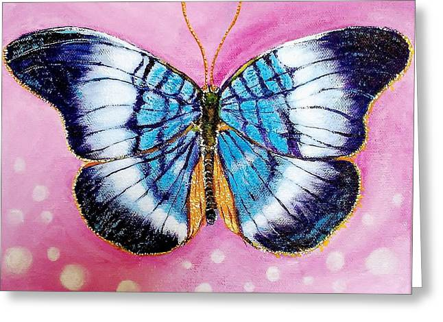 Blue Butterfly Greeting Card by Hye Ja Billie
