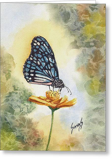Greeting Card featuring the painting Blue Butterfly by Sam Sidders