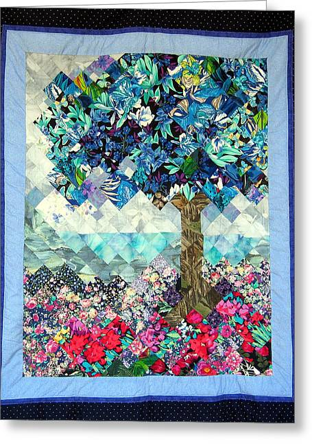Blue Flowers Tapestries - Textiles Greeting Cards - Blue Butterfly Tree Greeting Card by Sarah Hornsby