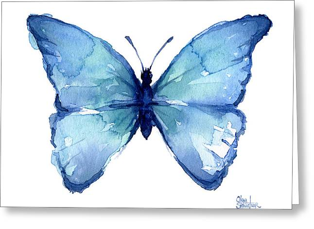 Blue Butterfly Watercolor Greeting Card by Olga Shvartsur
