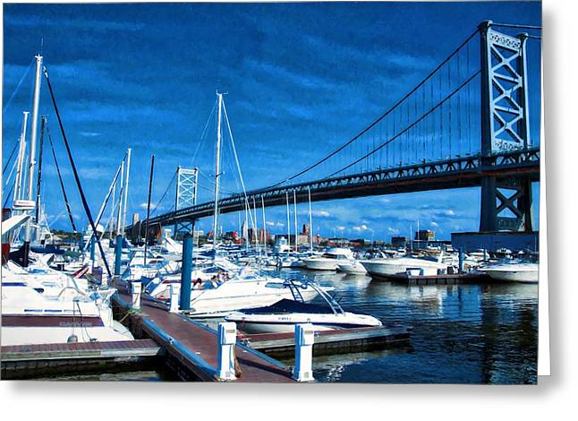 Blue By The Bridge Greeting Card by Alice Gipson