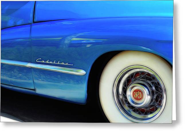 Greeting Card featuring the photograph Blue Cadillac - Classic Car by Ann Powell