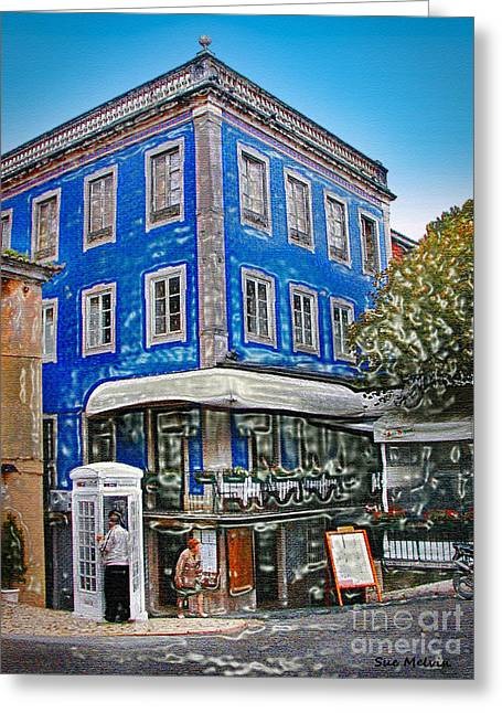 Greeting Card featuring the photograph Blue Cafe On The Corner by Sue Melvin