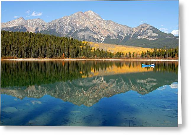 Blue Canoe On Patricia Lake Greeting Card by Larry Ricker